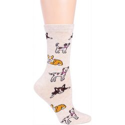 DAVCO Womens  Dog Outlines Crew Socks