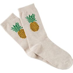Soxland Womens Glitter Pineapple Crew Socks