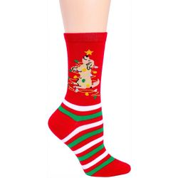 DAVCO Womens Dog Christmas Tree Crew Socks