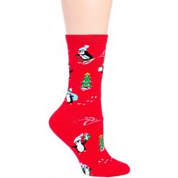 DAVCO Womens Penguin Party Crew Socks