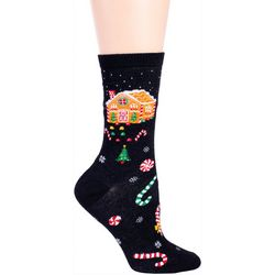 DAVCO Womens Gingerbread House Crew Socks