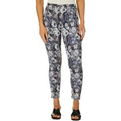 Hue Womens Tonal Floral Denim Skimmer Jeggings