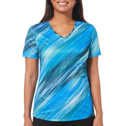 Reel Legends Womens Freeline Scratched Stripes Top
