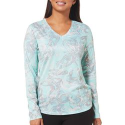 Reel Legends Womens Freeline Marble Print Long Sleeve Top