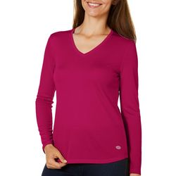 Reel Legends Womens Freeline Solid V-Neck Long Sleeve Top