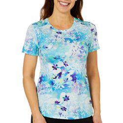 Reel Legends Womens Keep It Cool Colorful Blossoms T-Shirt