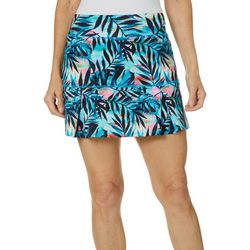Reel Legends Womens Keep It Cool Tropical Palm Pull On Skort
