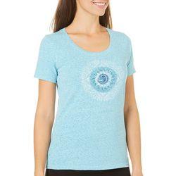 Reel Legends Womens Reel Fresh Shark Tooth Mandala T-Shirt
