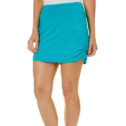 Reel Legends Womens Keep It Cool Solid Ruched Skort