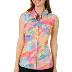 Reel Legends Womens Saltwater Sweeping Palm Button Down Top