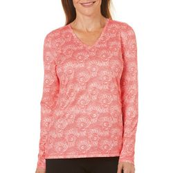 Reel Legends Womens Reel-Tec Button Seashell Long Sleeve Top
