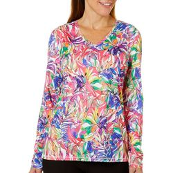 Reel Legends Womens Reel-Tec Long Sleeve Button Seashell Top