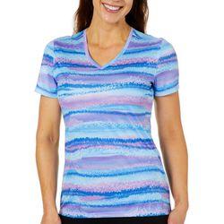 Reel Legends Womens Reel-Tec Twinkle Stripe Short Sleeve Top