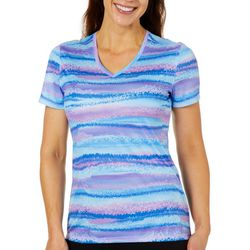 Reel Legends Womens Reel-Tec Twinkle Stripe Short Sleeve Top