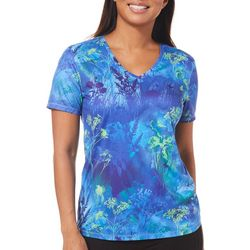 Reel Legends Womens Reel-Tec Floral Short Sleeve Top