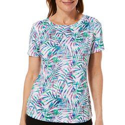 Reel Legends Womens Freeline Pretty Palm Short Sleeve Top