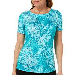 Reel Legends Womens Freeline Tonal Palm Short Sleeve Top