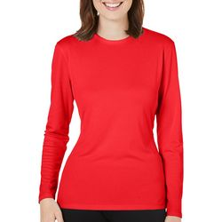 Reel Legends Womens Freeline Solid Long Sleeve Crew Neck Top