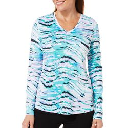 Reel Legends Womens Freeline Zebra Print Long Sleeve Top