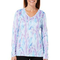 Reel Legends Womens Reel-Tec Layered Leaf Long Sleeve Top