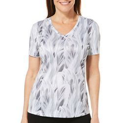 Reel Legends Womens Freeline Layered Leaves Short Sleeve Top