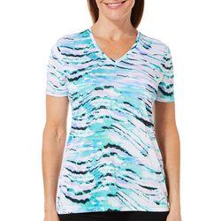 Reel Legends Womens Reel-Tec Zebra Print V-Neck Top