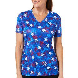 Reel Legends Womens Reel-Tec Americana Star Short Sleeve Top