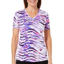 Reel Legends Womens Freeline Zebra Print V-Neck Top