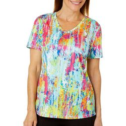 Reel Legends Womens Freeline Color Tracks Short Sleeve Top
