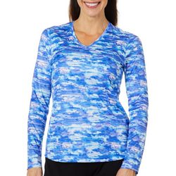 Reel Legends Womens Freeline Watercolor Waves Shimmer Top