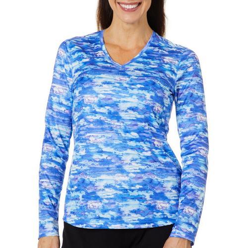 Reel Legends Womens Freeline Watercolor Waves Shimmer Top