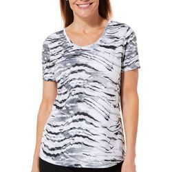 Reel Legends Womens Freeline Zebra Print Scoop Neck Top
