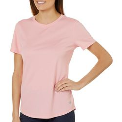 Reel Legends Womens Freeline Solid Shimmer Crew Neck T-Shirt