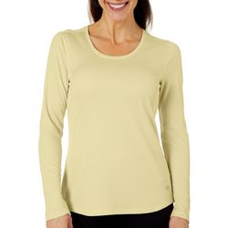Reel Legends Womens Freeline Solid Scoop Neck Shimmer Top