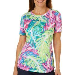 Reel Legends Womens Freeline Sketched Palm Short Sleeve Top