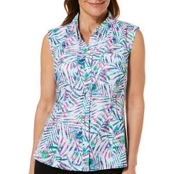 Reel Legends Womens Saltwater Party Palm Sleeveless Top