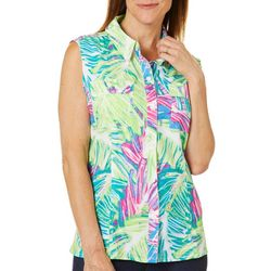Reel Legends Womens Saltwater Colorful Palm Sleeveless Top