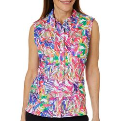 Reel Legends Womens Saltwater Rainbow Jungle Sleeveless Top
