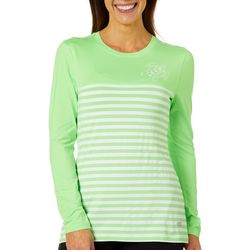Reel Legends Womens Keep It Cool Striped Colorblock Top