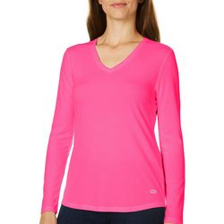 Reel Legends Womens Freeline Solid V-Neck Long Sleeve
