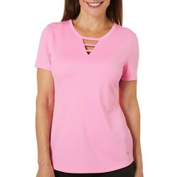 Reel Legends Womens Freeline Shimmer Ladder Keyhole Neck Top