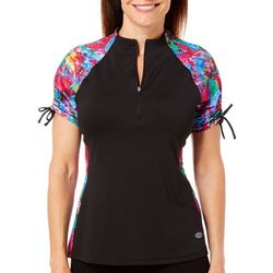 Reel Legends Womens Keep It Cool Zip Placket Mock Neck Top