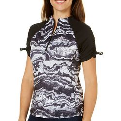 Reel Legends Womens Keep It Cool Agate Black Zip Top