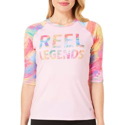 Reel Legends Womens Keep It Cool Sweeping Palm Logo Top