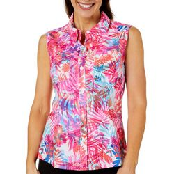 Reel Legends Womens Adventure Sleeveless Airy Palms Top