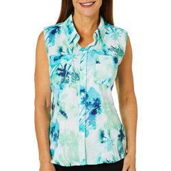Reel Legends Womens Adventure Sleeveless Miami Palms Top