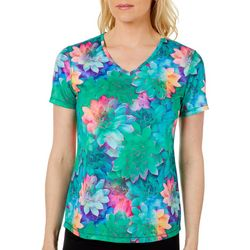 Reel Legends Womens Freeline Rainbow Succulents Shimmer Top