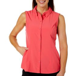 Reel Legends Womens Adventure Sleeveless Button Down Top