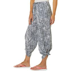 Reel Legends Womens Textured Palms Palms Beach Day Tie Pant