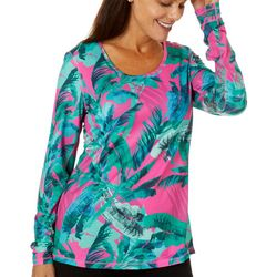 Reel Legends Womens Escapade Graphic Palms Long Sleeve Top